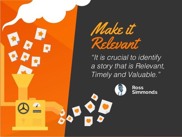 """Ross Simmonds 0028930 """"It is crucial to identify a story that is Relevant, Timely and Valuable."""" Make it Relevant"""