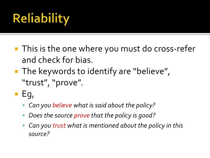 """   This is the one where you must do cross-refer    and check for bias.   The keywords to identify are """"believe"""",    """"tr..."""