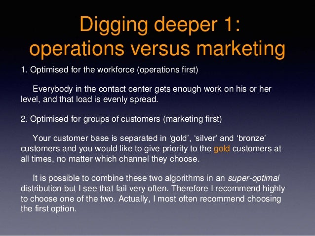 Digging deeper 1: operations versus marketing 1. Optimised for the workforce (operations first) Everybody in the contact c...