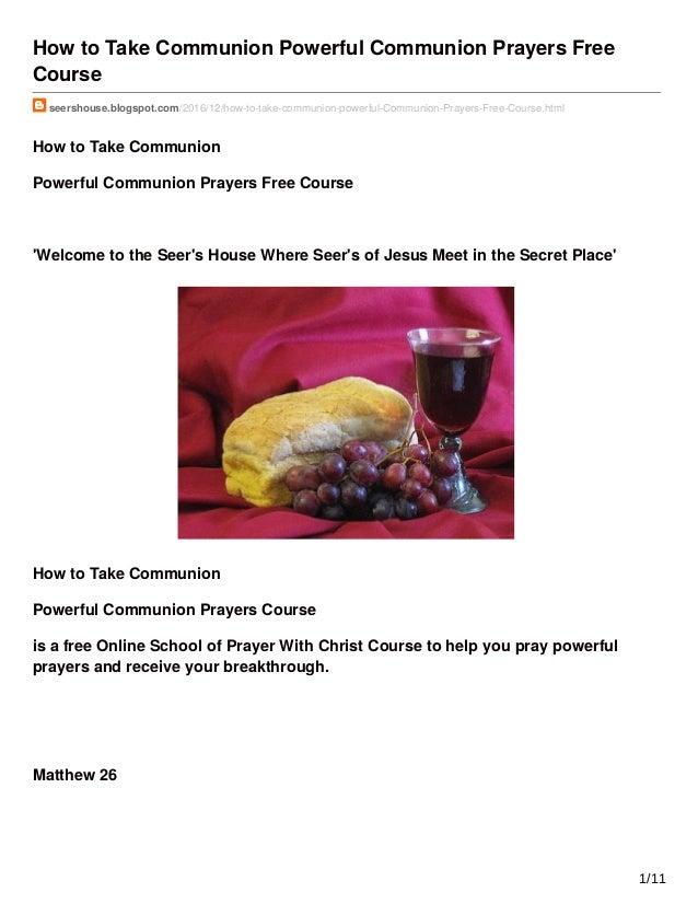 How to Take Communion Powerful Communion Prayers Free Course seershouse.blogspot.com/2016/12/how-to-take-communion-powerfu...