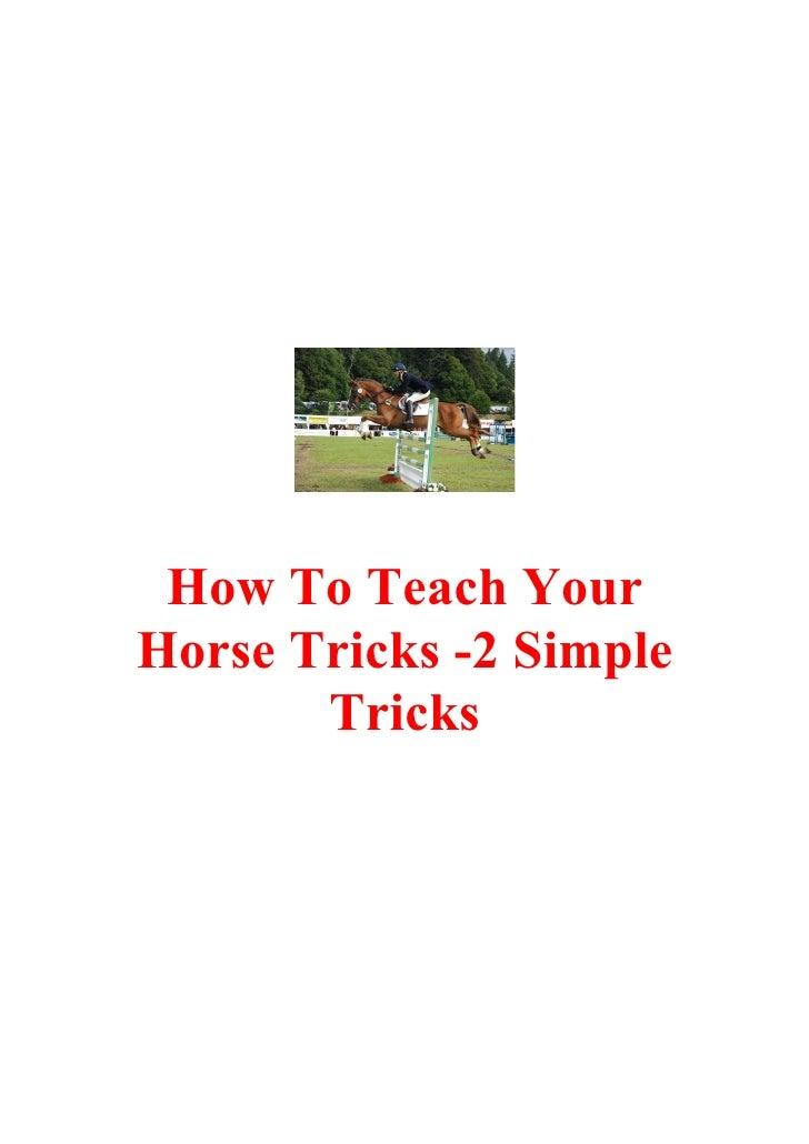 How To Teach Your Horse Tricks -2 Simple        Tricks