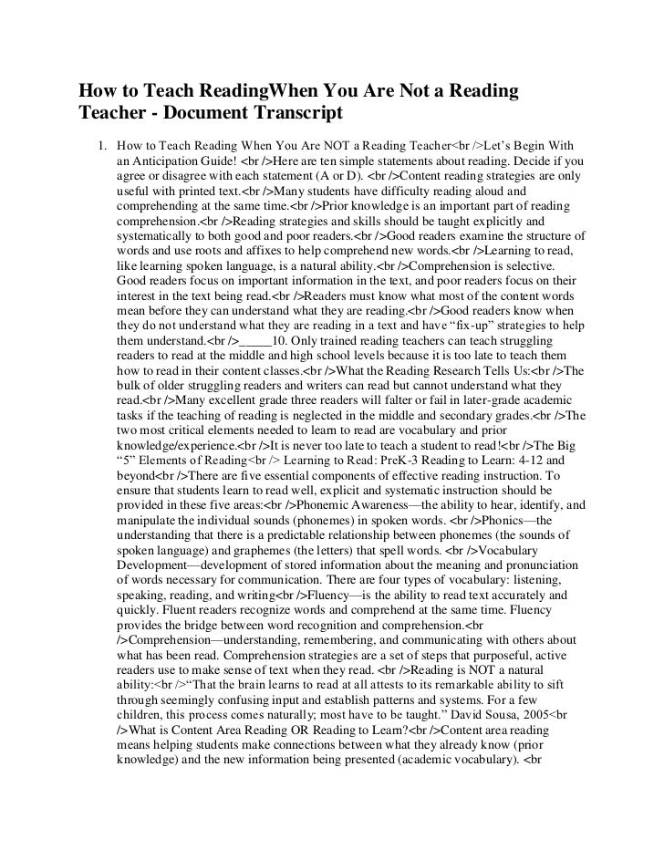 How to Teach ReadingWhen You Are Not a Reading Teacher - Document Transcript<br />How to Teach Reading When You Are NOT a ...