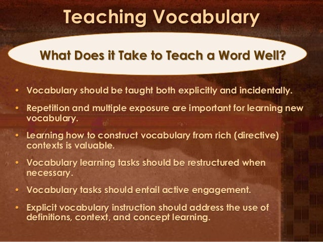 How to teach vocabulary (HW)