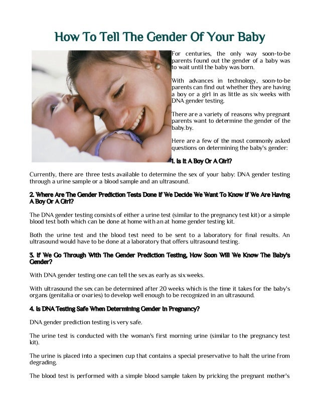 Can you determine the sex of your baby