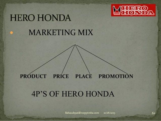 Hero honda marketing mix