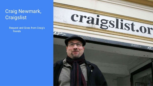 Craig Newmark, Craigslist Request and Gives from Craig's friends