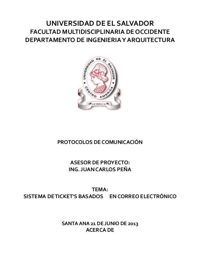 UNIVERSIDAD DE EL SALVADORFACULTAD MULTIDISCIPLINARIA DE OCCIDENTEDEPARTAMENTO DE INGENIERIAY ARQUITECTURAPROTOCOLOS DE CO...