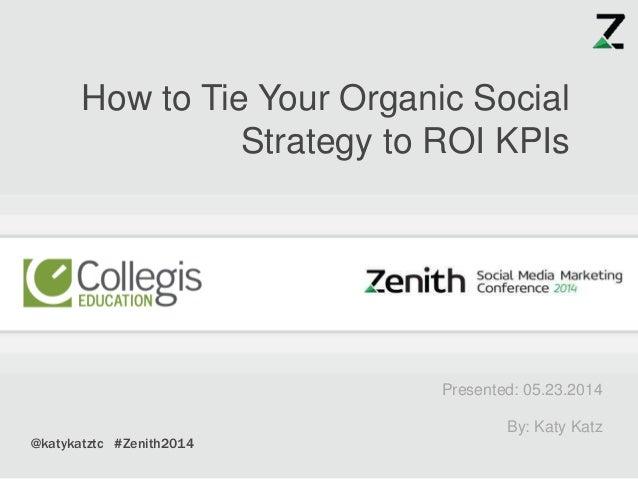 Presented: 05.23.2014 By: Katy Katz How to Tie Your Organic Social Strategy to ROI KPIs @katykatztc #Zenith2014