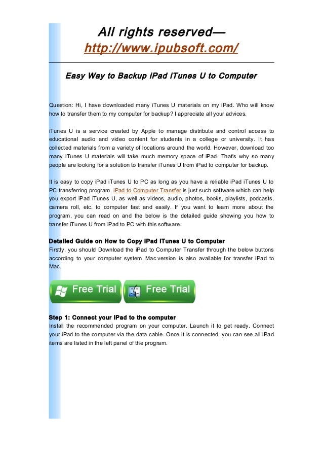 How to Transfer iTunes U from iPad to Computer for Backup
