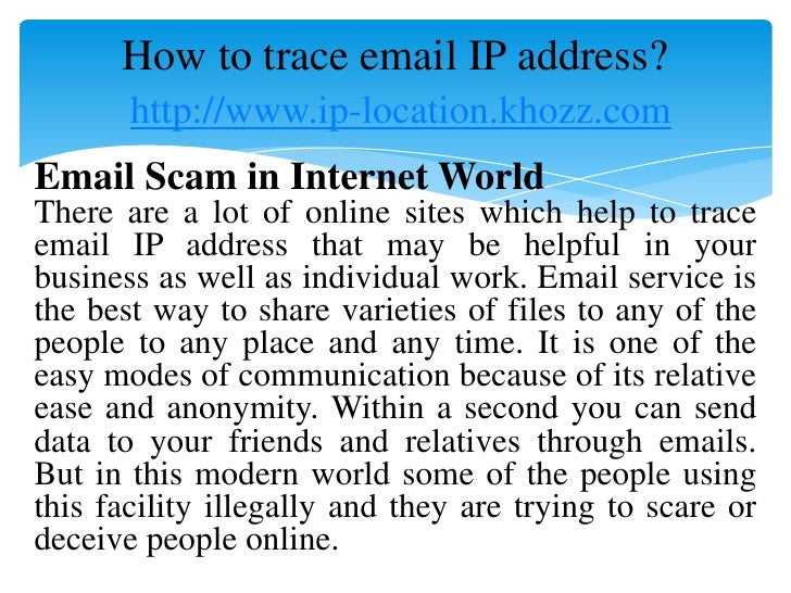 how to get ip with email adress