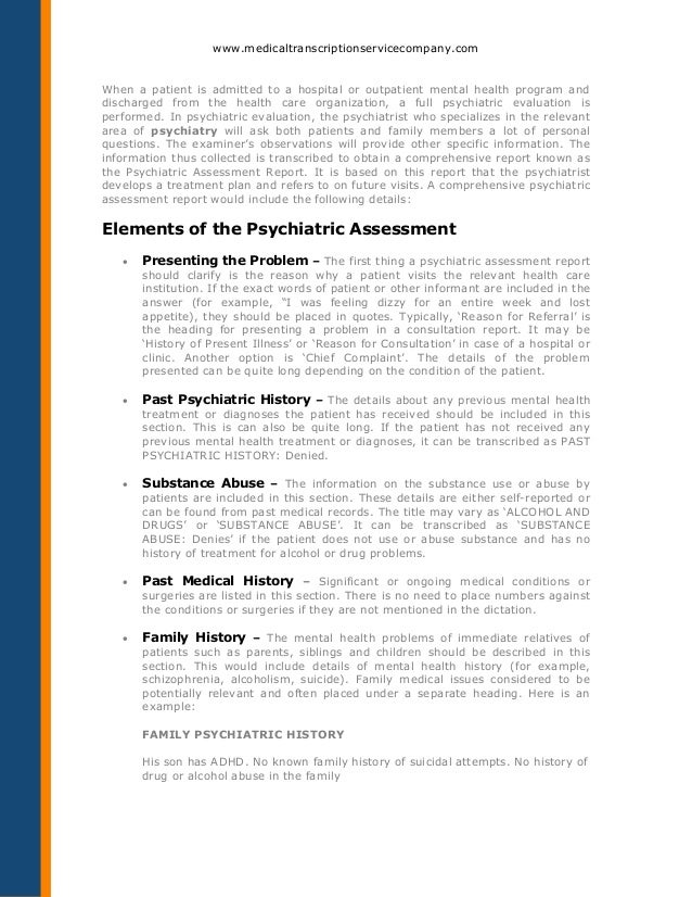 how to transcribe a psychiatric assessment report