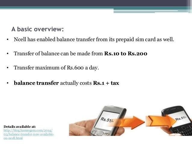How to transfer balance from Ncell to another Ncell