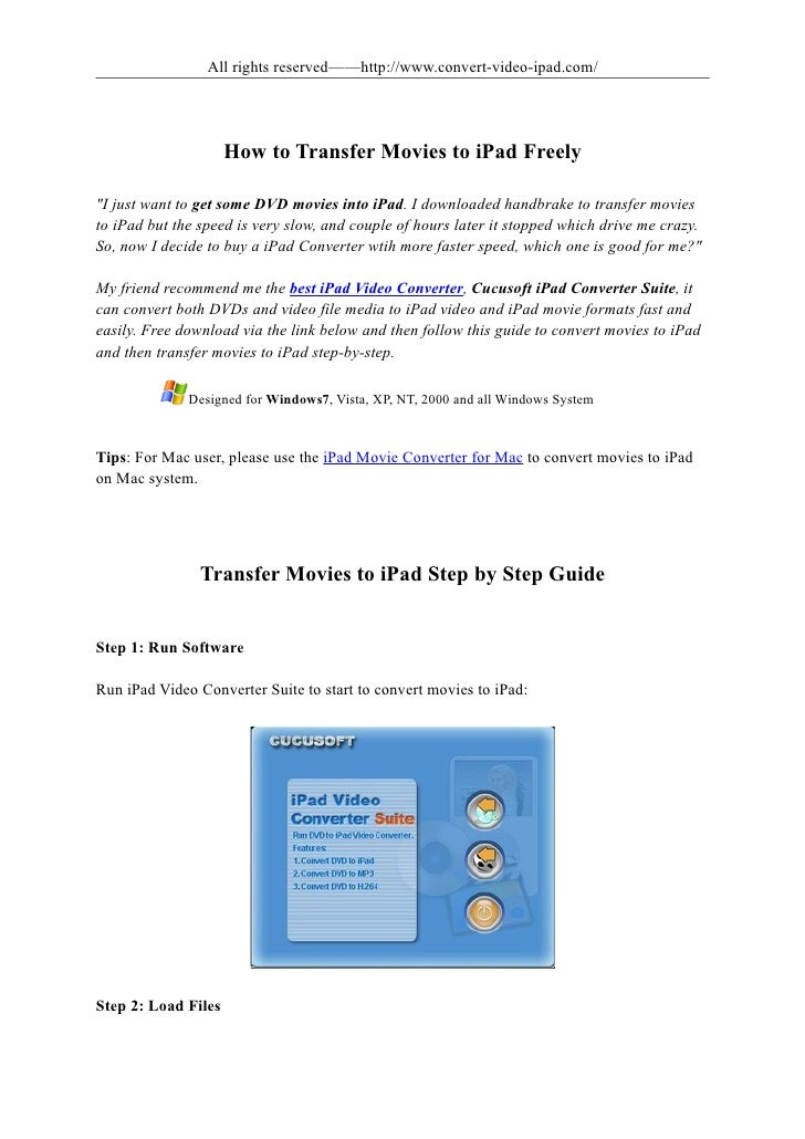 How to transfer movies to i pad freely