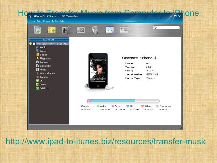 How to Transfer Music from Computer to iPhonehttp://www.ipad-to-itunes.biz/resources/transfer-music-fro
