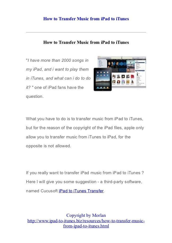 How to transfer music from i pad to itunes