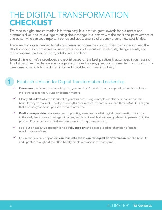 22 Establish a Vision for Digital Transformation Leadership � Document the factors that are disrupting your market. Assem...