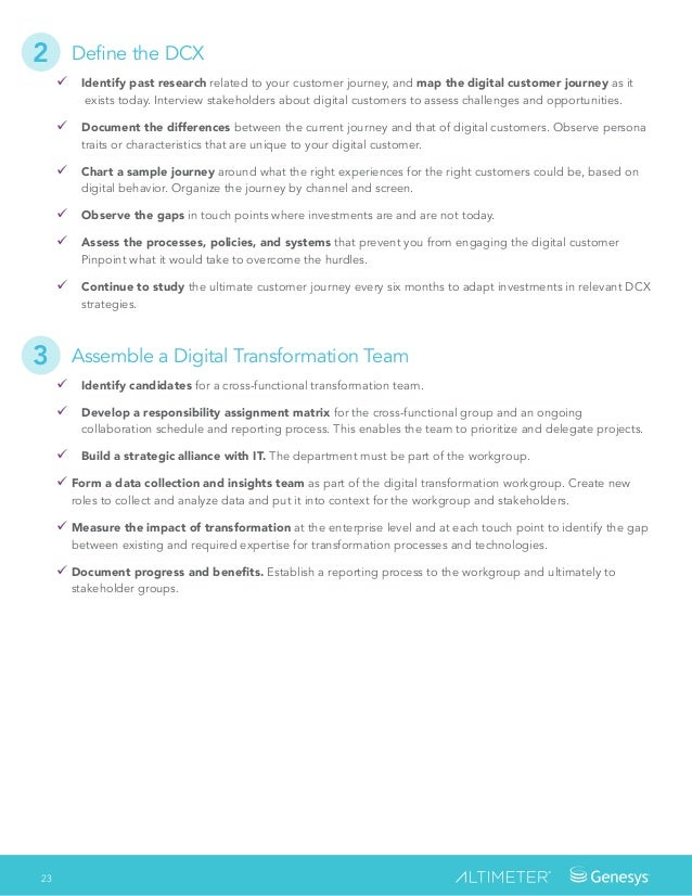 23 Define the DCX � Identify past research related to your customer journey, and map the digital customer journey as it e...
