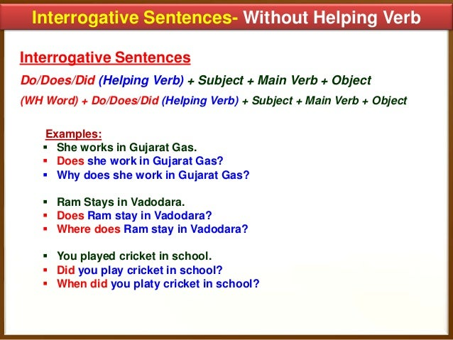 Worksheets Example Of Verbs In Sentence how to transform sentences 17 interrogative without helping verb