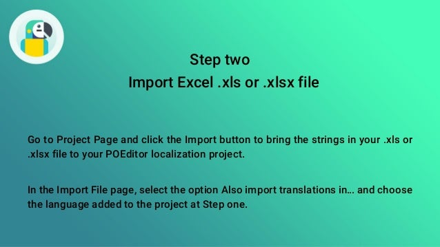 How to translate Excel  xls and  xlsx using POEditor