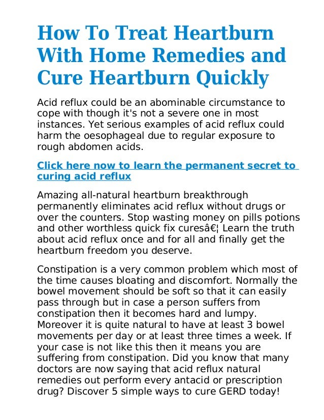 How To Treat Heartburn With Home Remedies and Cure ...