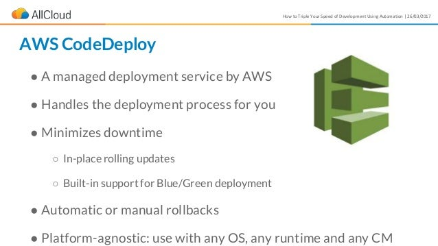 How to Triple Your Speed of Development Using Automation | 26/03/2017 ● A managed deployment service by AWS ● Handles the ...