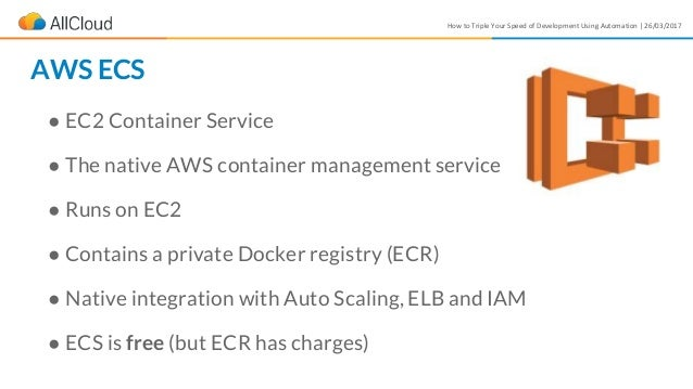 How to Triple Your Speed of Development Using Automation | 26/03/2017 ● EC2 Container Service ● The native AWS container m...