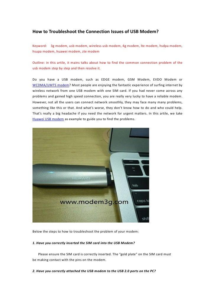How to Troubleshoot the Connection Issues of USB Modem?Keyword: 3g modem, usb modem, wireless usb modem, 4g modem, lte mod...