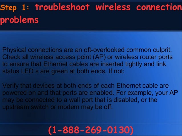 How to troubleshoot wireless connection problems 1-888-269 ...