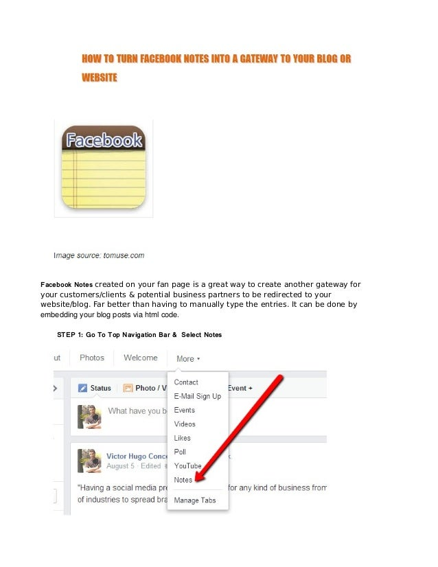 Facebook Notes created on your fan page is a great way to create another gateway for  your customers/clients & potential b...