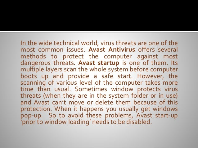 cant disable avast on startup