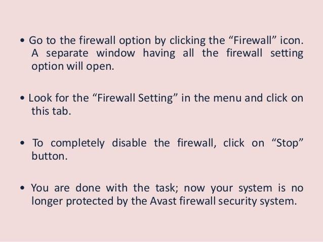 avast disable firewall