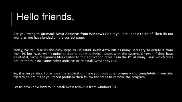 how do i remove avast windows 10