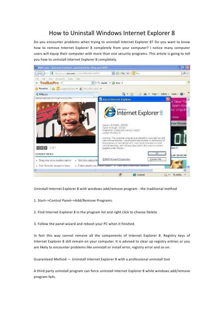 How To Uninstall Windows Internet Explorer 8