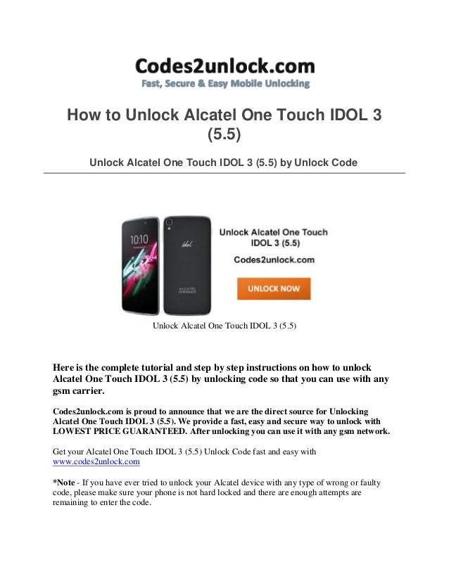 Alcatel one touch idol 3 user guide