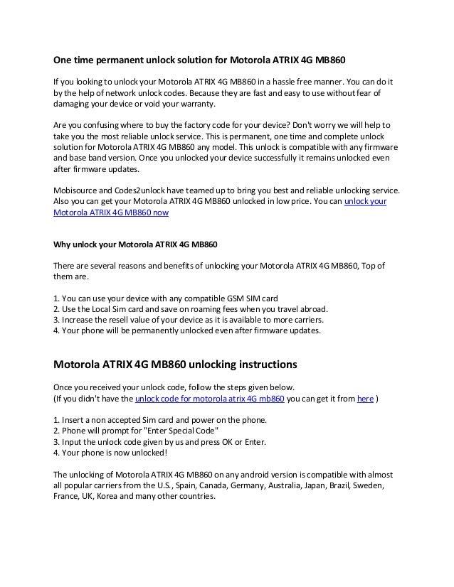 How to unlock motorola atrix 4 g mb860 by unlock code