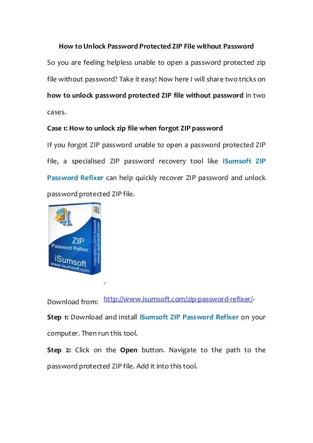 How to Unlock Password Protected ZIP File without Password