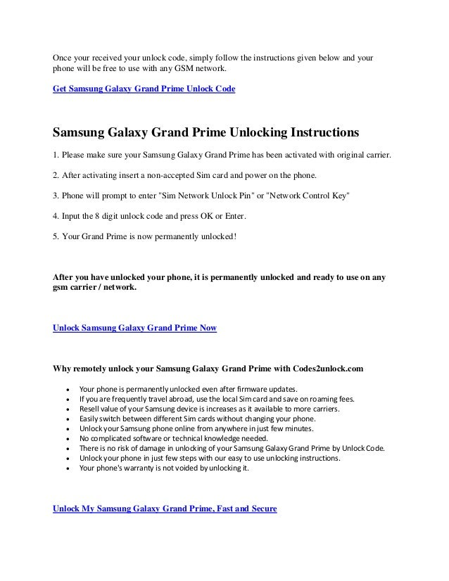 How to unlock samsung galaxy grand prime by code