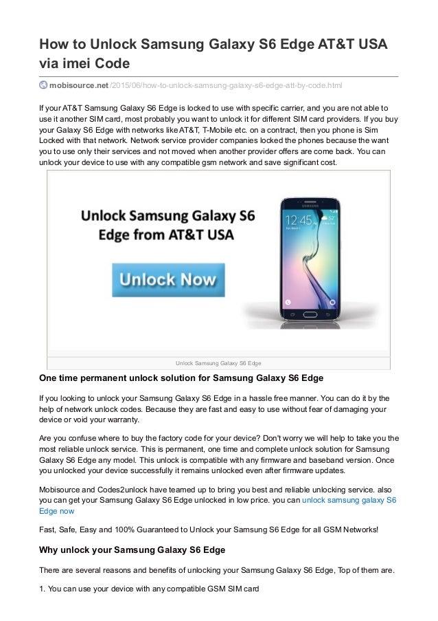 How to unlock samsung galaxy s6 edge att usa via imei code