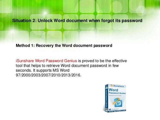 word doc forgot password