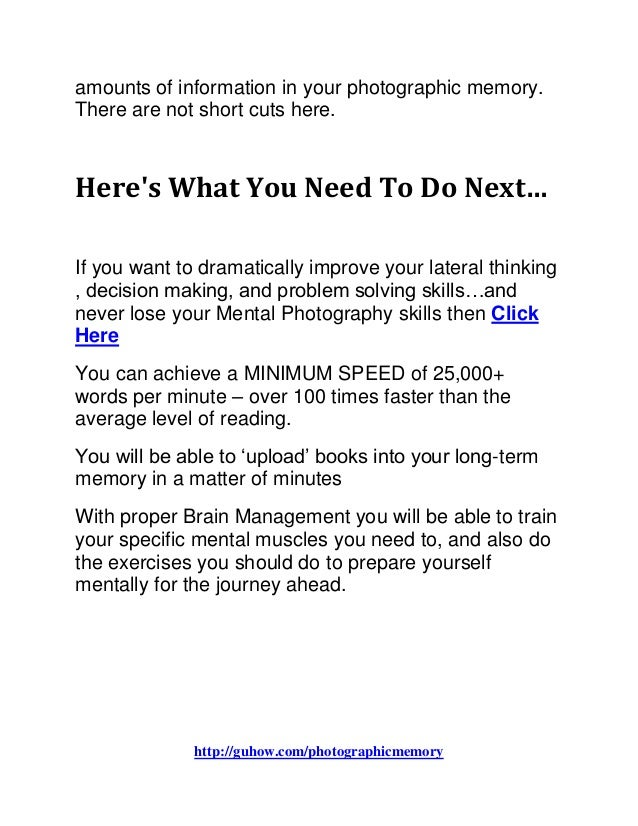 how to train your photographic memory