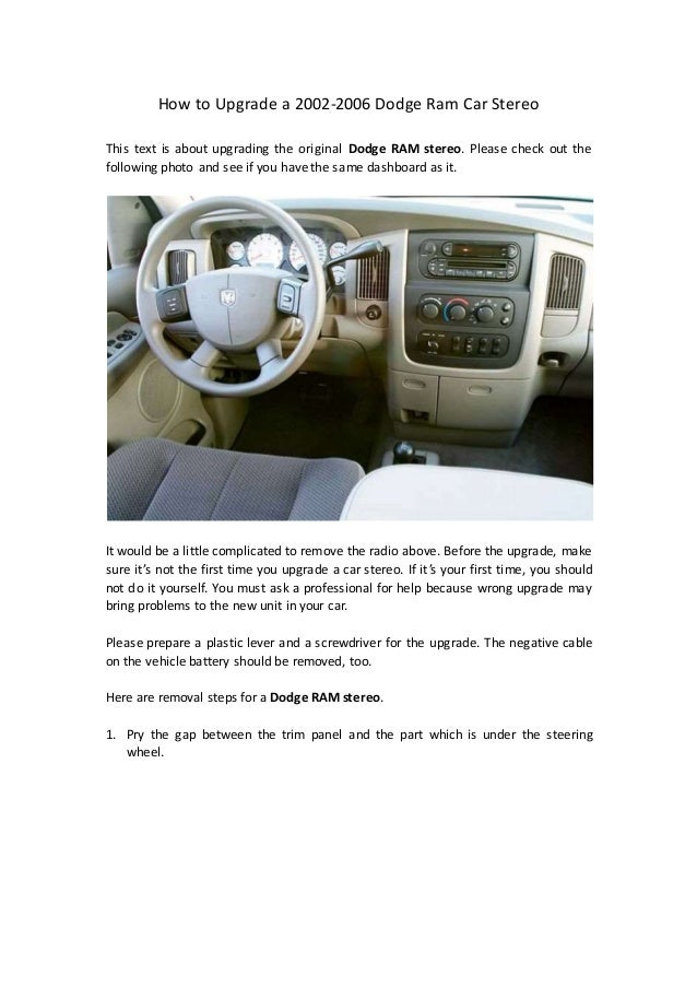 How to upgrade a 2002 2006 dodge ram car stereo