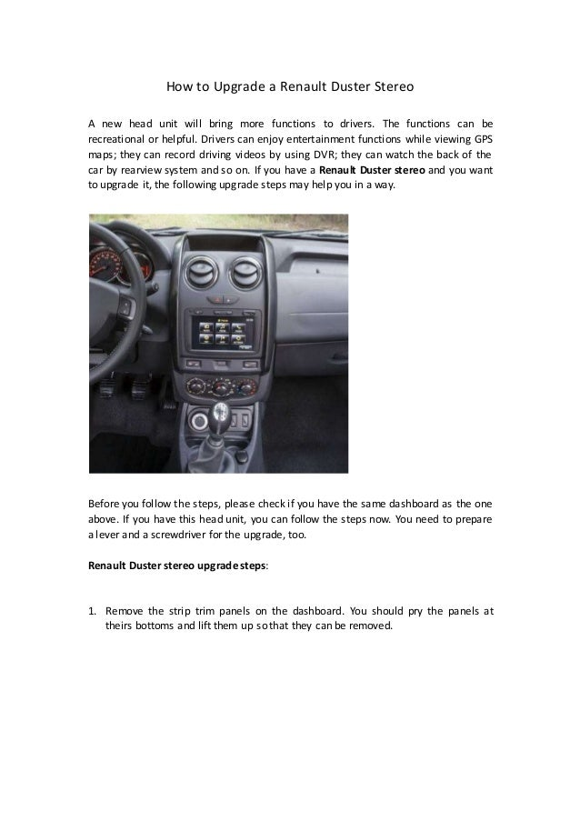 How to upgrade a renault duster stereo
