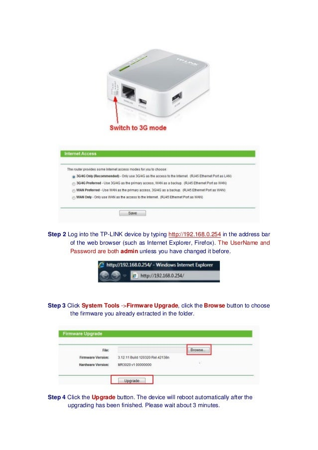 How to upgrade tp link portable 3 g router tl-mr3020