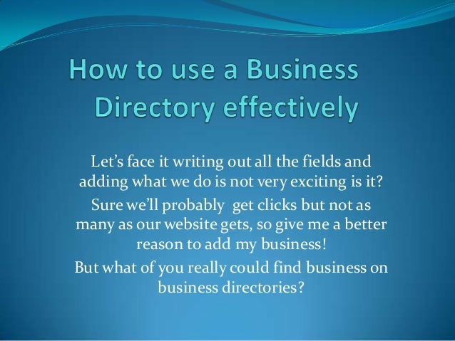 How to use a business directory effectively Slide 2