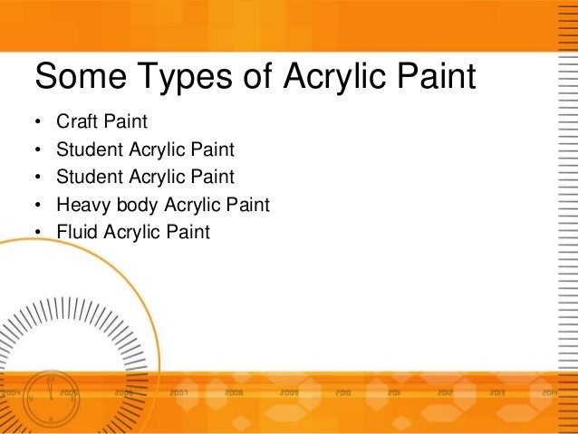 Acrylic paint for Types of acrylic paint