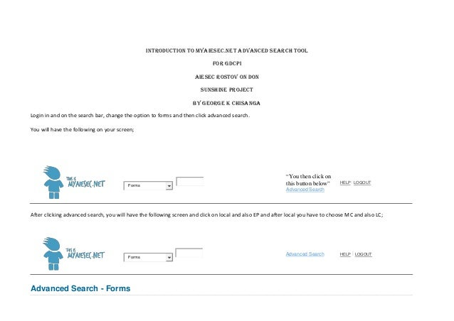 INTRODUCTION TO MYAIESEC.net ADVANCED SEARCH TOOL                                                                         ...
