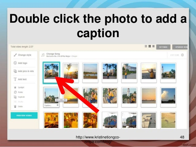 how to delete slide or photo in animoto
