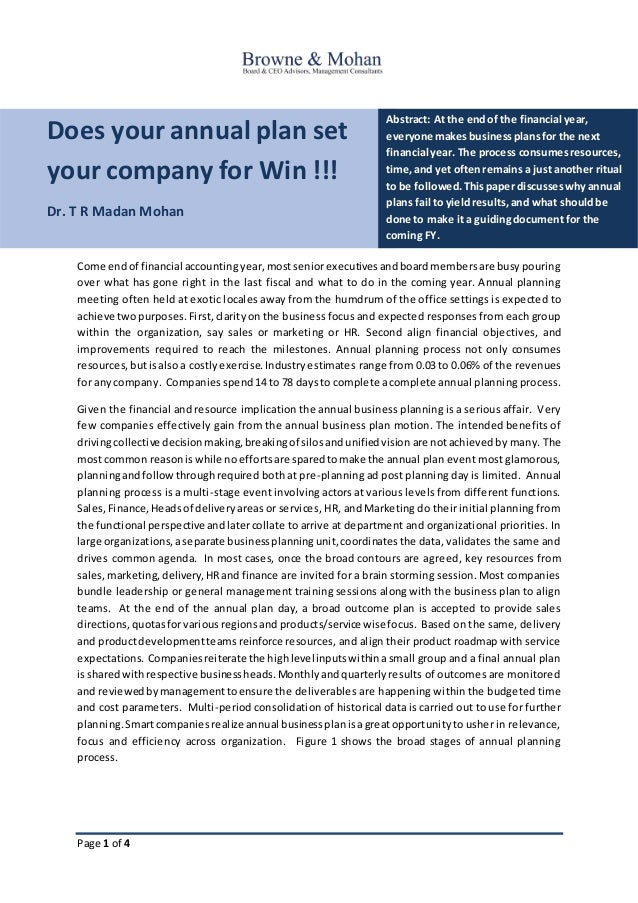 Page 1 of 4 Does your annual plan set your company for Win !!! Dr. T R Madan Mohan Abstract: At the endof the financial ye...