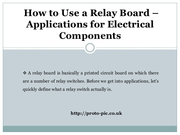 How to use a relay board applications for electrical components