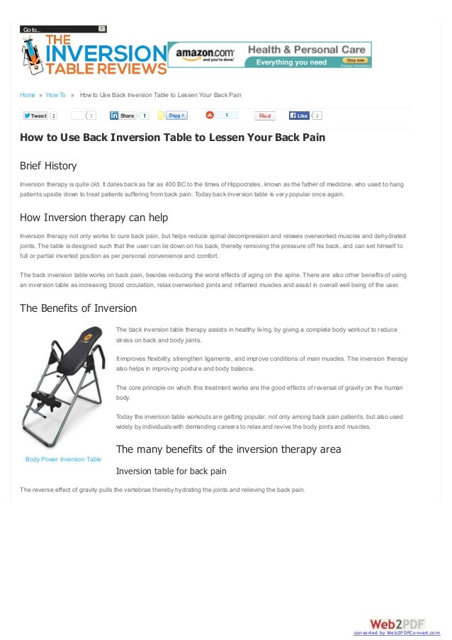 Go to...  Home » How To » How to Use Back Inversion Table to Lessen Your Back Pain Tweet  2  1  Share  1  1  Like  2  How ...